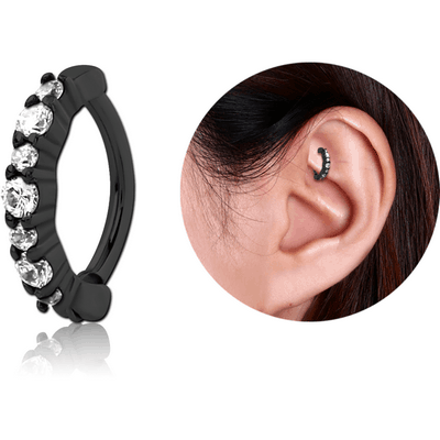BLACK PVD COATED SURGICAL STEEL PRONG SET JEWELLED ROOK CLICKER