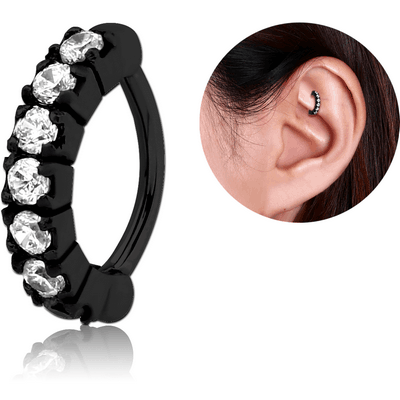 BLACK PVD COATED SURGICAL STEEL PRONG SET CRYSTAL JEWELLED ROOK CLICKER