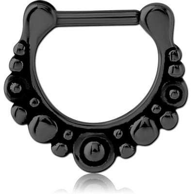 BLACK PVD COATED SURGICAL STEEL HINGED SEPTUM CLICKER - FILIGREE