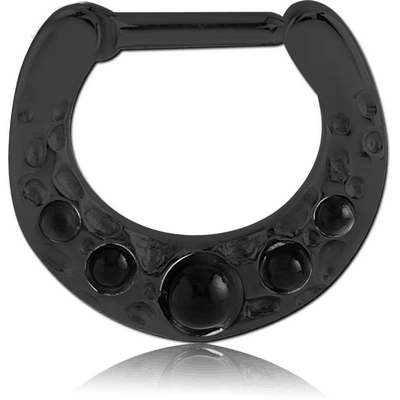 BLACK PVD COATED SURGICAL STEEL ROUND JEWELLED HINGED SEPTUM CLICKER WITH SYNTHETIC ONYX