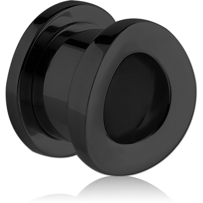 BLACK PVD COATED STAINLESS STEEL THREADED TUNNEL - CONVEX