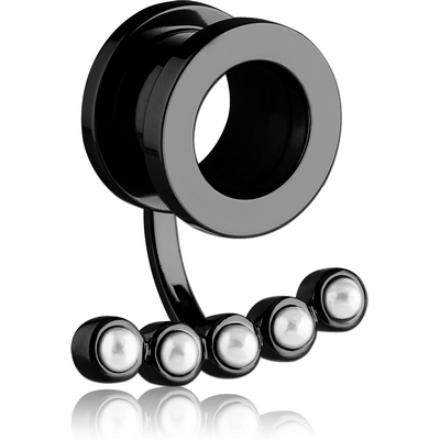 BLACK PVD COATED STAINLESS STEEL THREADED TUNNEL WITH SYNTHETIC PEARL