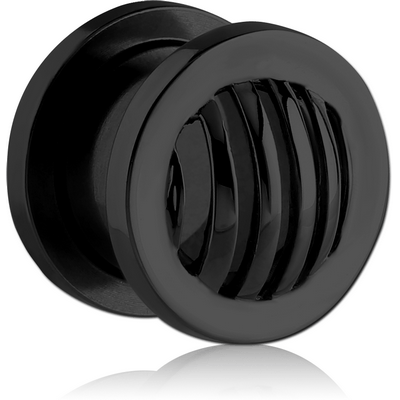 BLACK PVD COATED STAINLESS STEEL THREADED TUNNEL - STRIPES DOME