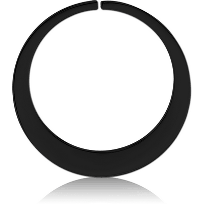 BLACK PVD COATED SURGICAL STEEL HOOP EARRINGS FOR TUNNEL - ROUND