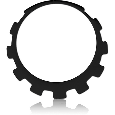 BLACK PVD COATED SURGICAL STEEL HOOP EARRINGS FOR TUNNEL