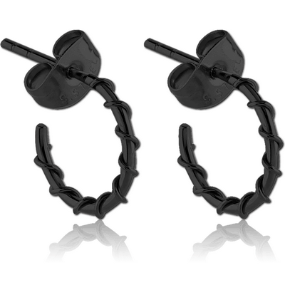 BLACK PVD COATED SURGICAL STEEL EAR STUDS PAIR - WIRE ON HOOP
