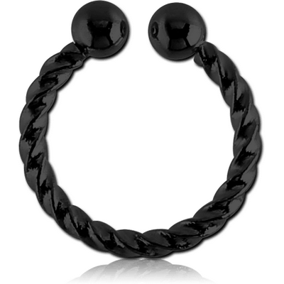 BLACK PVD COATED SURGICAL STEEL FAKE SEPTUM RING - ROPE