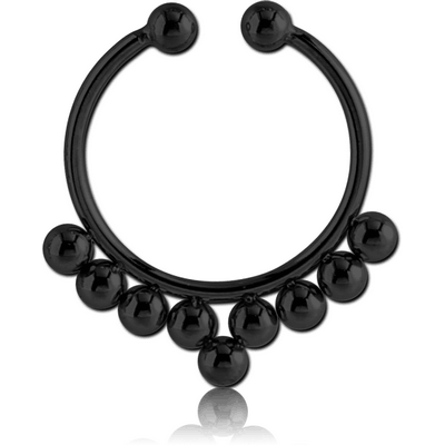 BLACK PVD COATED SURGICAL STEEL FAKE SEPTUM RING