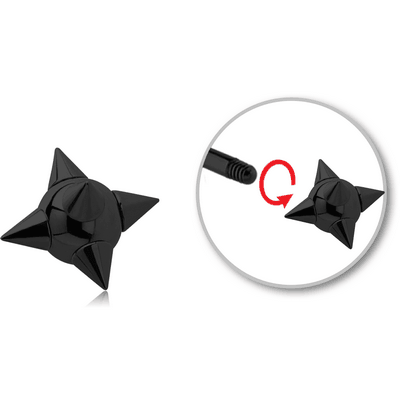 BLACK PVD COATED SURGICAL STEEL SPIKEY BALL