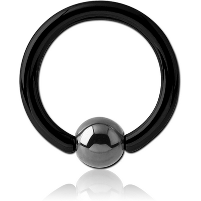 BLACK PVD COATED TITANIUM BALL CLOSURE RING WITH HEMATITE BALL