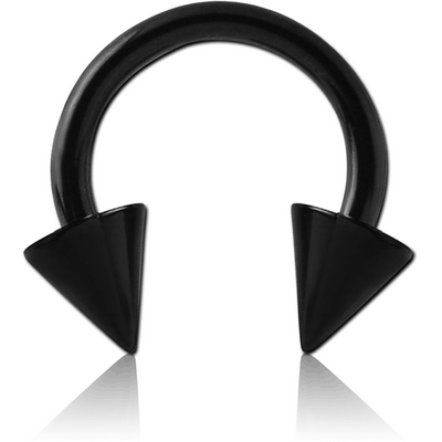 BLACK PVD COATED TITANIUM CIRCULAR BARBELL WITH CONES
