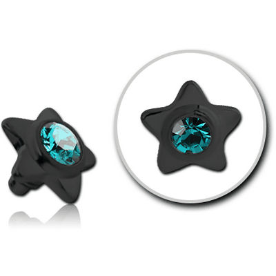 BLACK PVD COATED TITANIUM JEWELLED STAR FOR 1.6MM INTERNALLY THREADED PINS