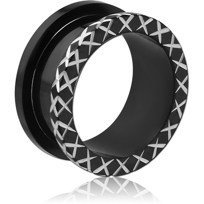 BLACK PVD COATED STAINLESS STEEL LASER ETCHED THREADED TUNNEL