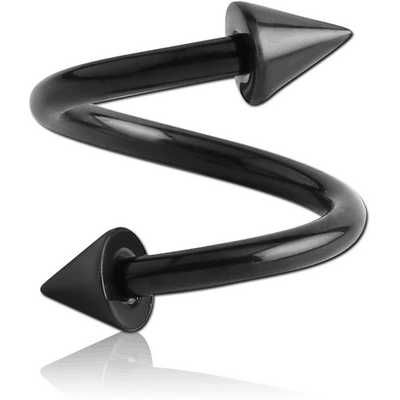 BLACK PVD COATED TITANIUM BODY SPIRAL WITH CONES
