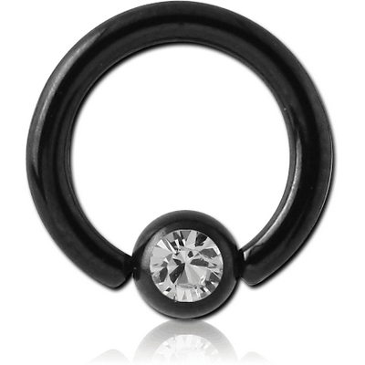 BLACK PVD COATED SURGICAL STEEL JEWELLED BALL CLOSURE RING WITH OPTIMA CRYSTAL
