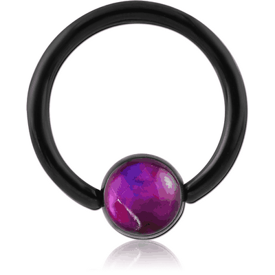 BLACK PVD COATED SURGICAL STEEL SYNTHETIC MOTHER OF PEARL BALL CLOSURE RING
