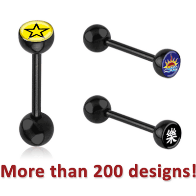 BLACK PVD COATED SURGICAL STEEL PICTURE BARBELL