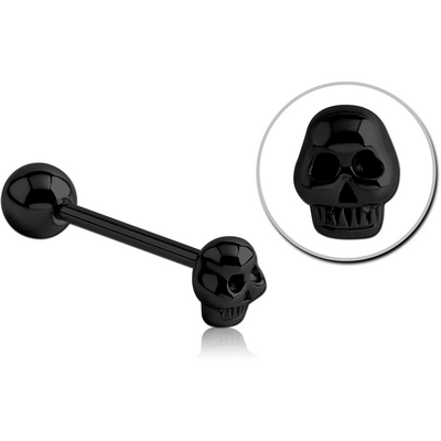 BLACK PVD COATED SURGICAL STEEL BARBELL - SKULL