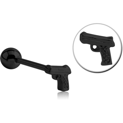 BLACK PVD COATED SURGICAL STEEL BARBELL - GUN