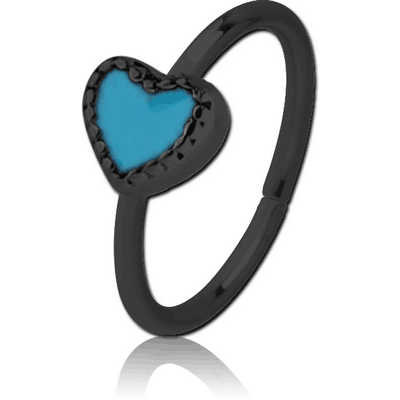 BLACK PVD COATED SURGICAL STEEL SEAMLESS RING WITH ENAMEL - HEART
