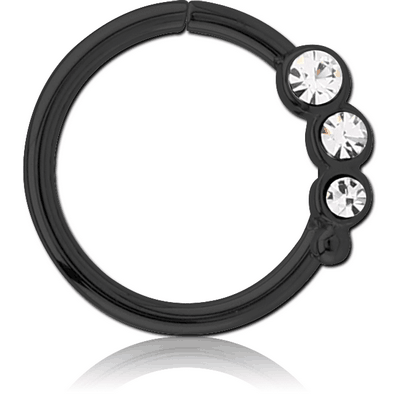 BLACK PVD COATED SURGICAL STEEL JEWELLED SEAMLESS RING - LEFT - TRIPLE GEM