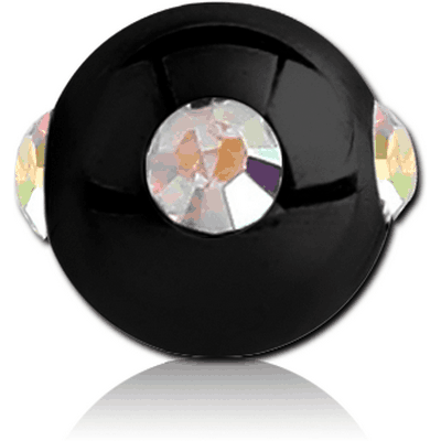 BLACK PVD COATED SURGICAL STEEL JEWELLED SATELLITE MICRO BALL