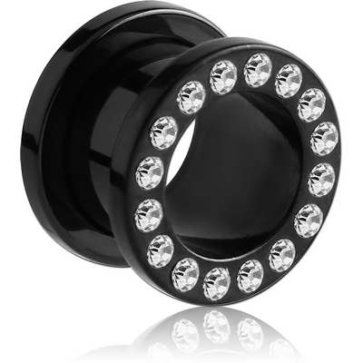BLACK PVD COATED STAINLESS STEEL JEWELLED FLESH TUNNEL (12 STONES PP13) EMPTY PART