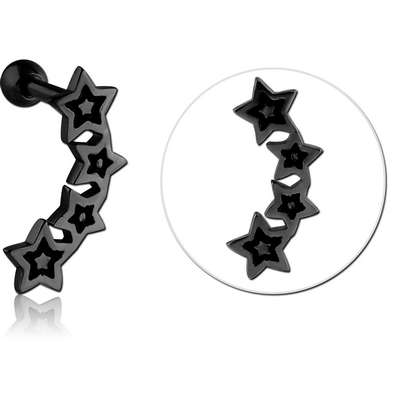 BLACK PVD COATED SURGICAL STEEL TRAGUS MICRO BARBELL WITH ENAMEL - FOUR STARS