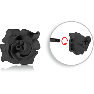 BLACK PVD COATED SURGICAL STEEL MICRO THREADED FLOWER ATTACHMENT