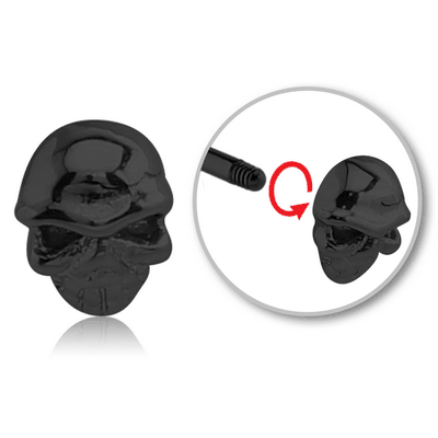 BLACK PVD COATED SURGICAL STEEL MICRO THREADED SKULL ATTACHMENT
