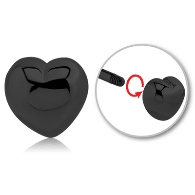 BLACK PVD COATED SURGICAL STEEL MICRO THREADED HEART ATTACHMENT