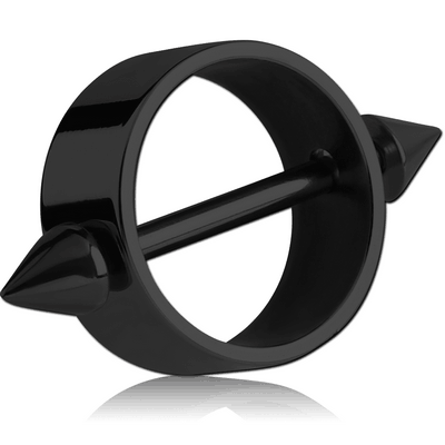 BLACK PVD COATED SURGICAL STEEL NIPPLE SHIELD WITH CONES