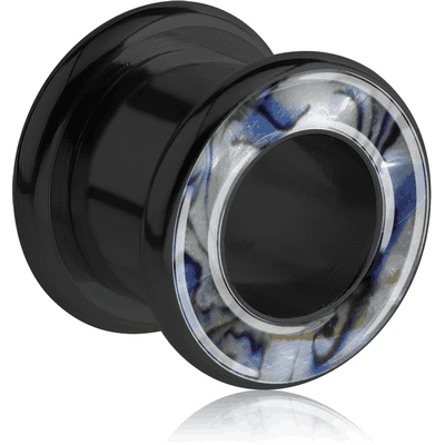 BLACK PVD COATED SURGICAL STEEL JEWELLED SYNTHETIC MOTHER OF PEARL ROUND-EDGE THREADED TUNNEL