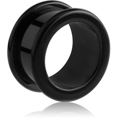 BLACK PVD COATED STAINLESS STEEL ROUND-EDGE THREADED TUNNEL