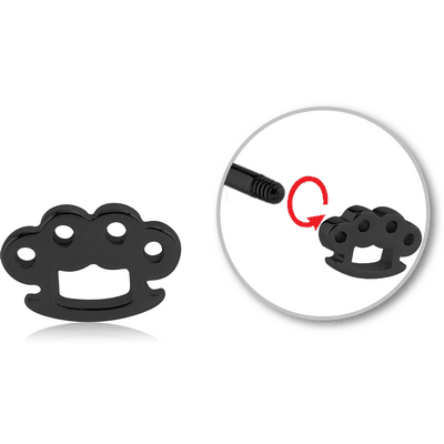 BLACK PVD COATED SURGICAL STEEL ATTACHMENT FOR 1.6 MM THREADED PINS - BRASS KNUCKLES