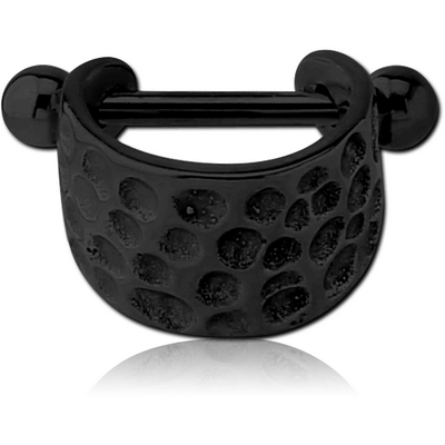 BLACK PVD COATED SURGICAL STEEL CARTILAGE SHIELD - HAMMERED TEXTURE