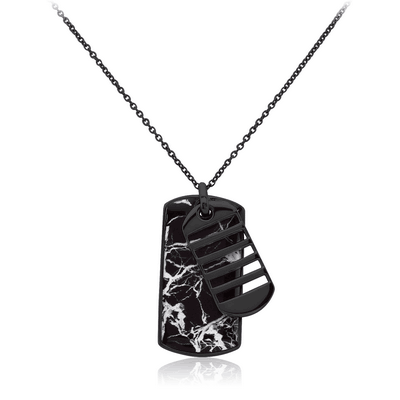BLACK PVD COATED SURGICAL STEEL NECKLACE WITH PENDANT