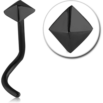 BLACK PVD COATED SURGICAL STEEL CURVED NOSE STUD - PYRAMID