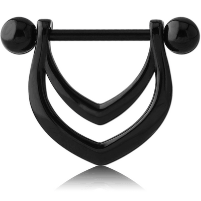 BLACK PVD COATED SURGICAL STEEL NIPPLE SHIELD - DOUBLE V