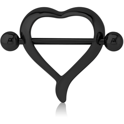 BLACK PVD COATED SURGICAL STEEL NIPPLE SHIELD - HEART