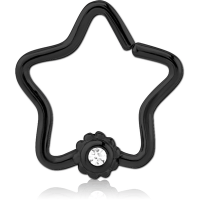 BLACK PVD COATED SURGICAL STEEL JEWELLED OPEN STAR SEAMLESS RING