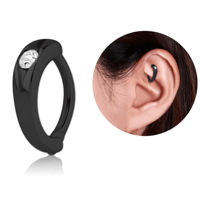 BLACK PVD COATED SURGICAL STEEL JEWELLED ROOK CLICKER