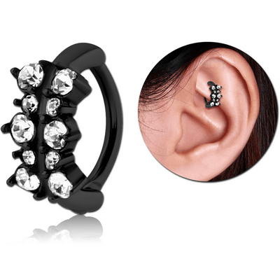 BLACK PVD COATED SURGICAL STEEL JEWELLED ROOK CLICKER - FILIGREE
