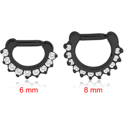 BLACK PVD COATED SURGICAL STEEL ROUND PRONG SET SWAROVSKI CRYSTAL JEWELLED HINGED SEPTUM CLICKER RING