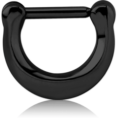 BLACK PVD COATED SURGICAL STEEL HINGED SEPTUM CLICKER