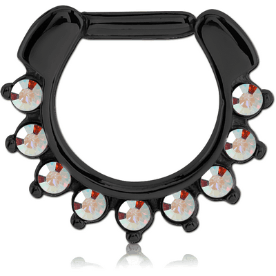 BLACK PVD COATED SURGICAL STEEL ROUND JEWELLED HINGED SEPTUM CLICKER