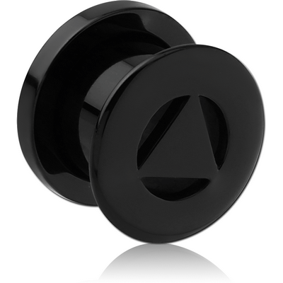 BLACK PVD COATED SURGICAL STEEL THREADED TUNNEL - TRIANGLE