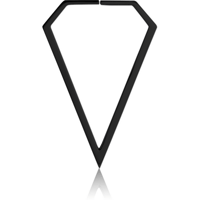 BLACK PVD COATED SURGICAL STEEL HOOP EARRINGS FOR TUNNEL - DIAMOND