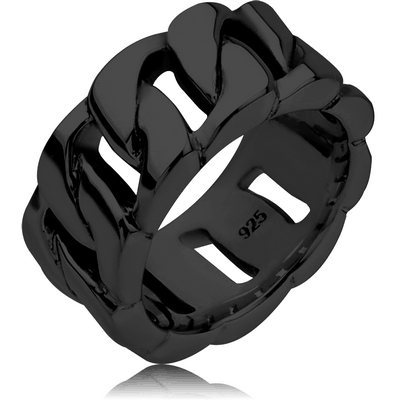 STERLING SILVER 925 BLACK PVD COATED RING - CHAIN