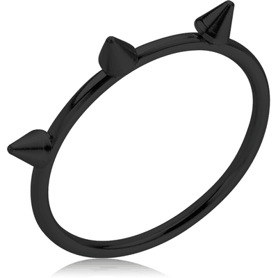 BLACK PVD COATED SURGICAL STEEL RING - CONE